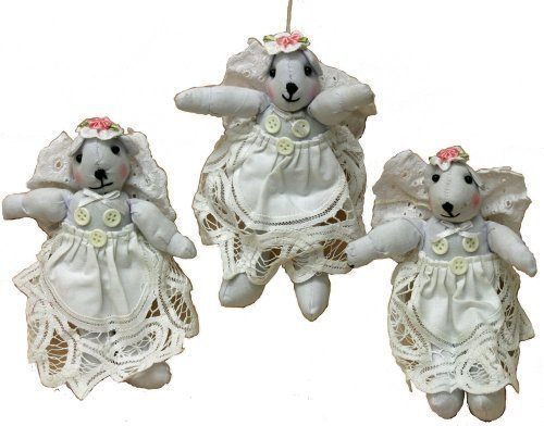 1010 Lace (Trio Rag Dolls Bear 7 Inches Angels with Lace Dresses and Flower Hats)
