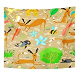 Emvency Tapestry Wall Hanging Sausage Cute with Dogs Animal Ball Bee Bird Bone Butterfly Canine Polyester Fabric Home Decor for Living Room Bedroom Dorm 50x60 Inches