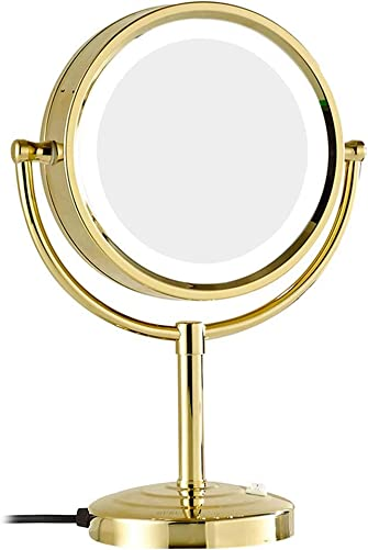 Mirror LED 8.5 Inch Tabletop Makeup Double-Sided with 3x 5x 7x 10x Magnification Countertop Vanity, LED Lighted Make-up for Makeup, Shaving, Home,Gold,10x