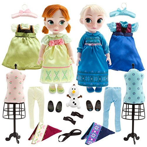 Disney Store Deluxe Frozen Animators Elsa and Anna Toddler Doll Gift Set