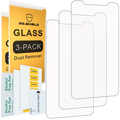 [3-Pack]-Mr Shield Screen Protector for iPhone Xs [Tempered Glass] Screen Protector [Japan Glass with 9H Hardness] with Lifetime Replacement Warranty