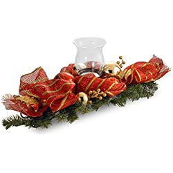 National Tree 30 Inch Decorative Collection Centerpiece with Candle Holder, Red Ribbon, Gold Berries and Ball Ornaments (DC3-165-30C-A)