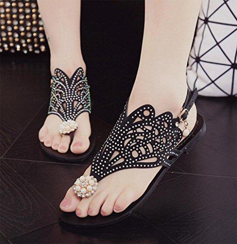 Frau weibliche beiläufige Sommer Sandalen und Pantoffeln mit starken unteren Schuhe süßen Tanga Black
