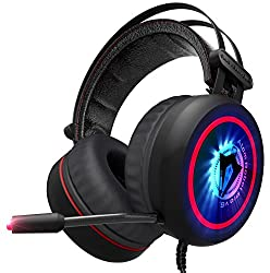 Robot Pro v6. – NEW 2018 Gaming Headset 7.1 Best Surround Stereo Sound, Noise Cancelling Mic, 3.5mm Wired Soft Breathing Over-Ear Game Headphones – USB LED for PC, Laptop, Xbox 360, One, PS3, PS4