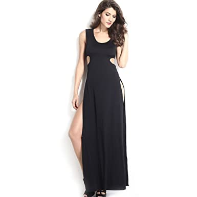 09a6e92b870 Women s Black High Side Slits Cutout Maxi Dress at Amazon Women s Clothing  store