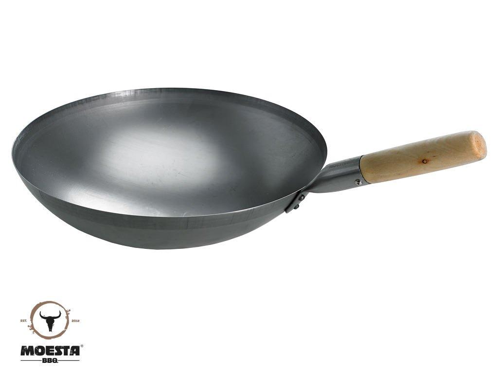 moesta Barbacoa de Acero Wok 35/cm con Mango De Madera