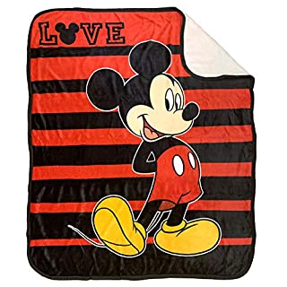 Jay Franco Disney Mickey Mouse Love Sherpa Throw Blanket - Measures 50 x 60 inches, Kids Bedding - Fade Resistant Super Soft - (Official Disney Product)