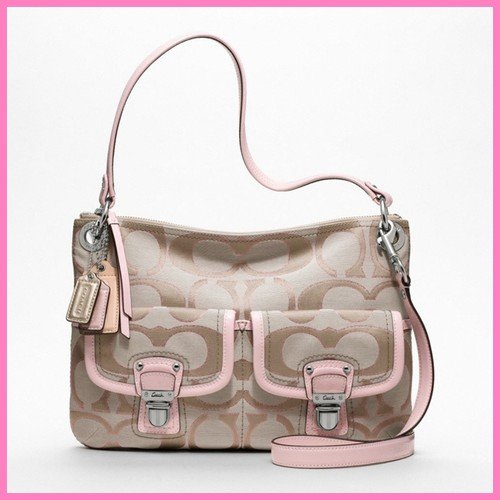 Coach Poppy Metallic Signature Sateen Hippie Crossbody Bag Khaki/pink F18980