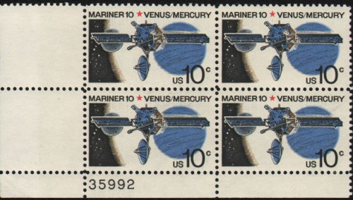 mariner-10-spacecraft-venus-mercury-1557-plate-block-of-4-x-10-cents-us-postage-stamps