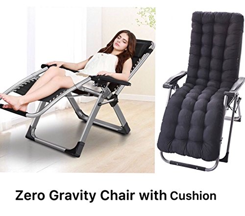 Four Seasons Zero Gravity Chair WITH CUSHION Lounge Recliner Folding Adjustable Office Patio Beach Pool Side Sports Indoor Outdoor Portable Durable With Beverage Tray Cup And Phone Holder