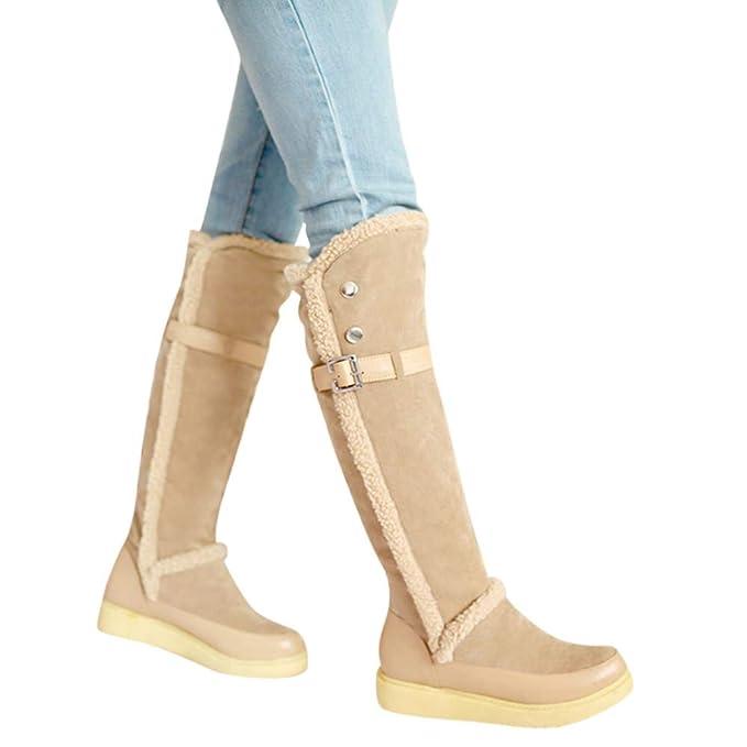 SamMoSon Botas Mujer Altas De Mujer Tacon Marrones,Mujeres Cálido Invierno Retro Metal Plano Tobillo Nieve Botas Largas Zapatos De Punta Redonda: ...