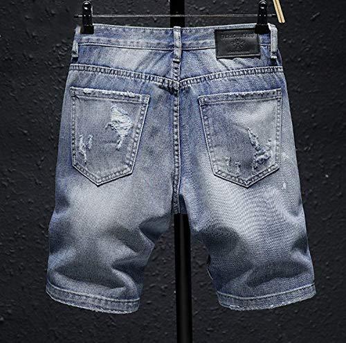 Colour Retrò Used Lunghezza Pantalone Stile Ssige Al Stretch Pantaloni Semplice Uomo Casual Sguardo Bermuda Sportivi Ginocchio Jeans 0q0SwUAxa