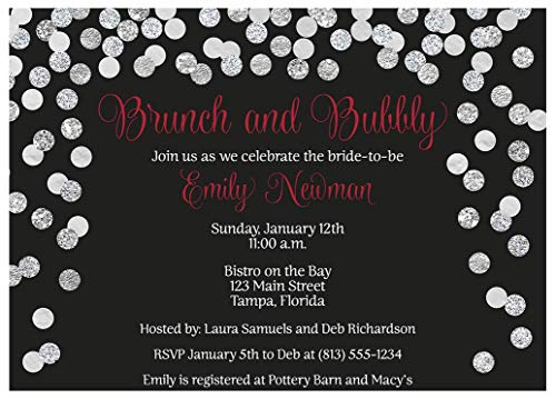 Brunch and Bubbly Bridal Shower Invitations Confetti Wedding Party Invites Rehearsal Dinner Anniversary Party Customize Cards Champagne Black Red Silver Glitter (10 -