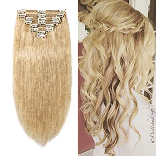 Double Weft 100% Remy Human Hair Clip in Extensions 10''-22'' Grade 7A Quality Full Head Thick Thickened Long Soft Silky Straight 8pcs 18clips for Women Beauty (12