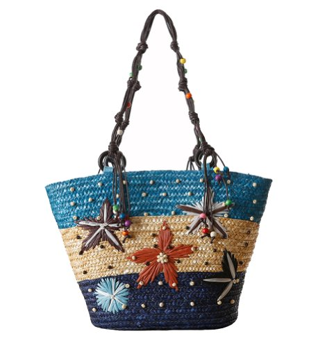 Tonwhar® Starfish Pattern Handmade Beaded Straw Tote Bag Bohemian Beach Bag -
