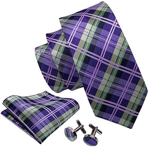 (Barry.Wang Green and Purple Ties Plaid Tartan Tie Set Woven)