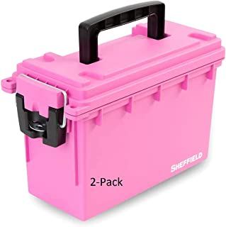 product image for Sheffield 12631 Storage Box | Great for Arts & Crafts Supplies, Small Toy Storage or Most Anything| Safe & Tamper-Proof with 3 Locking Options | Stackable & Water Resistant | Pink (2-Pack)
