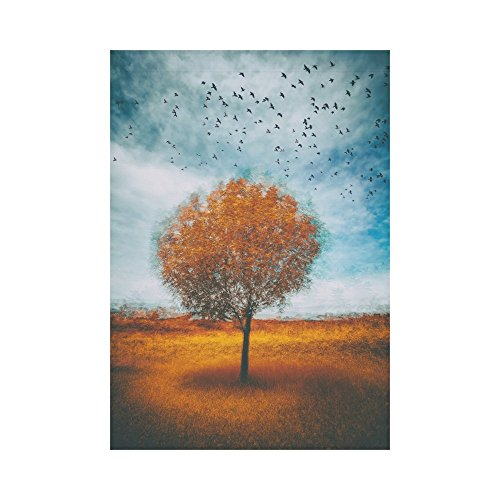 (InterestPrint Autumn Lonely Tree with Birds Flying Polyester Garden Flag Outdoor Banner 28 x 40 inch, Seaonal Fall Art Decorative Large House Flags for Party Yard Home Decor)