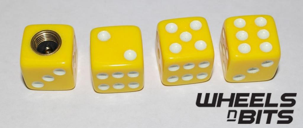 Wheels N Bits AUDI ALL MODELS YELLOW DICE VALVE CAPS DUST DUSTIES CAP SET OF 4