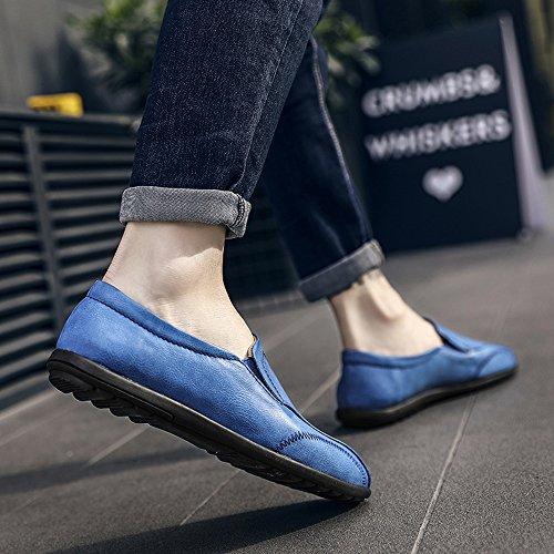 VILOCY Men's Slip On Flat Loafers Soft Leather Driving Moccasins Leisure Boat Shoes Blue s4jNveeak