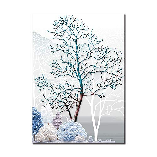 (millet16zjh Modern Snowy Forest Deer Printed Canvas Hotel Home Wall Art Painting Decor 1# 50cm x 70cm)