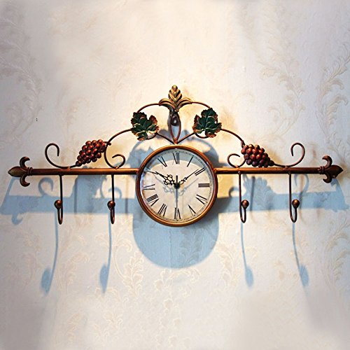 - AO Vintage Wrought-Iron Wall Clock, Hand-Painted Grapevine Coat Hook, European Classical Living Room Clock (4 Hooks)