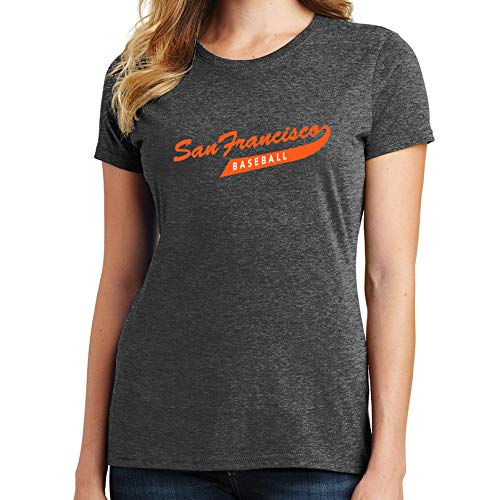 San Francisco Baseball Women's T-Shirt 2365 (3X-Large,Heather Dark Gray)