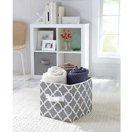 Durable Better Homes and Gardens Collapsible Fabric Polyester Storage Cube, Set of 2, Grey Vertical Trellis