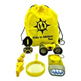 glass bird whistle - Outdoor Set for Kids - Binoculars, Flashlight, Compass, Whistle & Magnifying Glass. Explorer Toys Kit for Playing, Camping and Bird Watching. Educational Gift for Children by 'Kids In Motion Toys'