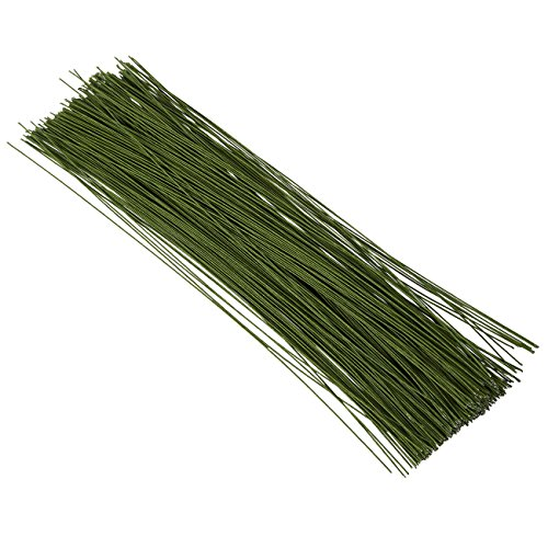 Flower Wire - 300-Piece Floral Wire, 20 Gauge Floral Stem Wire for Florist Flower Arrangement - Dark Green, 20 ga, 16 Inches in ()