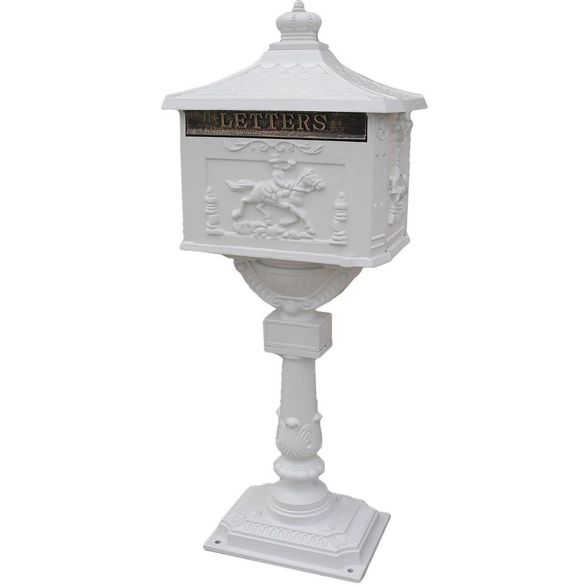 Goplus Mailbox Cast Mail Box Postal Box Security Aluminum Post/pedestal Heavy Duty (white)