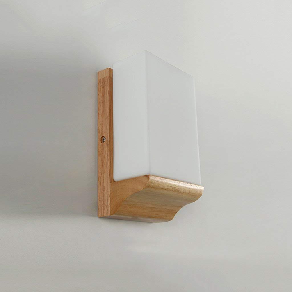 Wandleuchte Moderne Einfache Glas Holz Wandleuchte Schlafzimmer Licht Nachttischlampe Kreative Beleuchtung