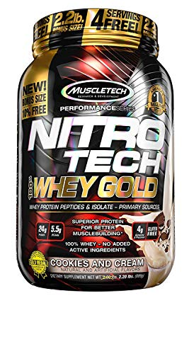 - MuscleTech NitroTech Whey Gold, 100% Whey Protein Powder, Whey Isolate and Whey Peptides, Cookies and Cream, 2,2 Pound