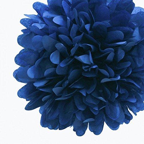 Navy Blue Tissue Paper Pom Poms (10