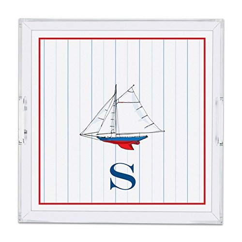 Chatsworth Sailboat Lucite Tray with Single Initial D Square Multicolored [並行輸入品]   B07DWCGWZG