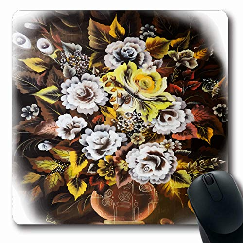 (Ahawoso Mousepads Growth Artistic Still Life Rose One Stroke Painting Yellow Bloom Blossom Design Flora Oblong Shape 7.9 x 9.5 Inches Non-Slip Gaming Mouse Pad Rubber Oblong Mat)