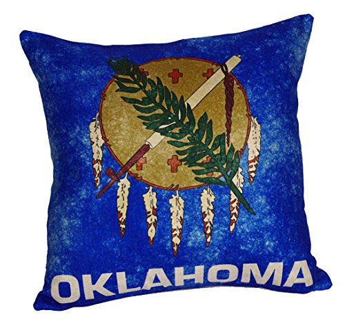 DECOPOW Retro Style US State Flag Pillow Cover, State Flag Throw Pillow Covers By (OKLAHOMA)
