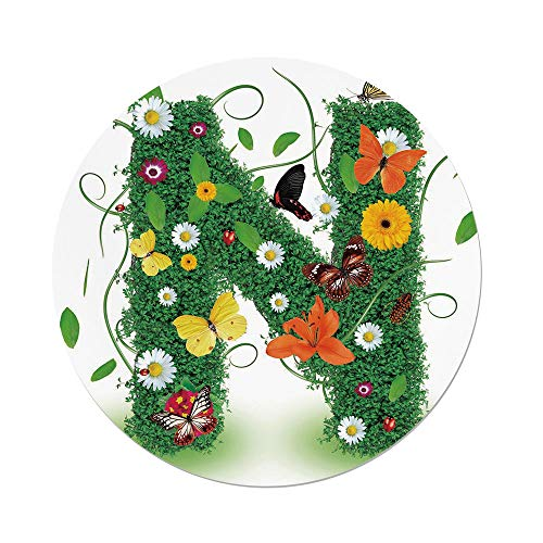 Gerbera Daisy Balloons (iPrint Polyester Round Tablecloth,Letter N,Chamomile Daisy Gerbera Blooms Green Leaves Colorful Butterflies Nature Decorative,Green Multicolor,Dining Room Kitchen Picnic Table Cloth Cover Outdoor in)