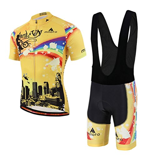 Uriah Men's Cycling Jersey Bib Shorts Black Sets Short Sleeve Reflective Rainbow City Size M(CN) ()