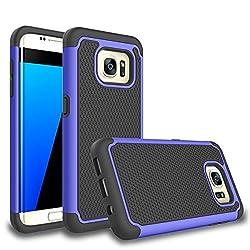 Galaxy S7 Edge Case, Daker [Shockproof] Hybrid Rubber Plastic Impact Defender Rugged [Ultra Slim] Hard Case Cover Shell For Samsung Galaxy S7edge S Vii G935 Gs7edge (Black Blue)
