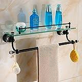 YUTU HSJ00 Antique Brass Cosmetic Shelf Black Bathroom Glass Shelf Wall Mounted