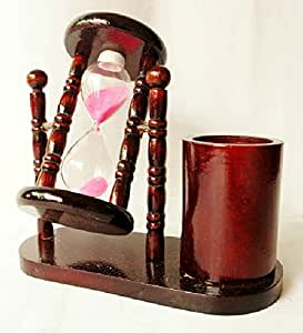 Redwood Hourglass Penholder Sand Timer Desktop Decorations