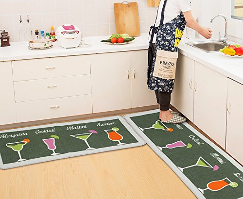 Kitchen Rugs and Mats 2 pieces,SHACOS Kitchen Runner Rug Floor Mats Carpet Anti-skid Doormat Washable 20×32 inch+20×59 inch, Green Cocktail Glasses by SHACOS (Image #7)