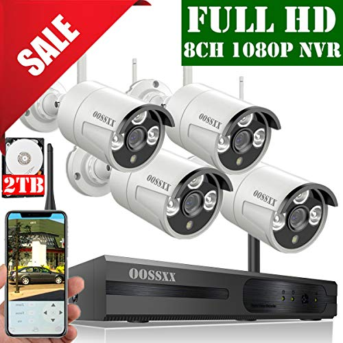 【2019 Update】 OOSSXX 8-Channel HD 1080P Wireless Security Camera System,4Pcs 1080P 2.0 Megapixel Wireless Indoor/Outdoor IR Bullet IP Cameras,P2P,App, HDMI Cord & 2TB HDD Pre-Install (Best Hd Security Camera)