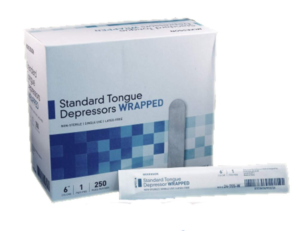 Tongue Depressors. Pack of 2500 Disposable Senior Depressors 6 inch. Non-sterile wooden blades 17.5 mm wide for examination of the mouth and throat. Latex-free, rounded, wood.