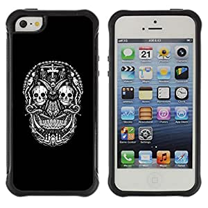 Be-Star único patrón Impacto Shock - Absorción y Anti-Arañazos Funda Carcasa Case Bumper Para Apple iPhone 5 / iPhone 5S ( Black Skull Cross Death Metal Rock )