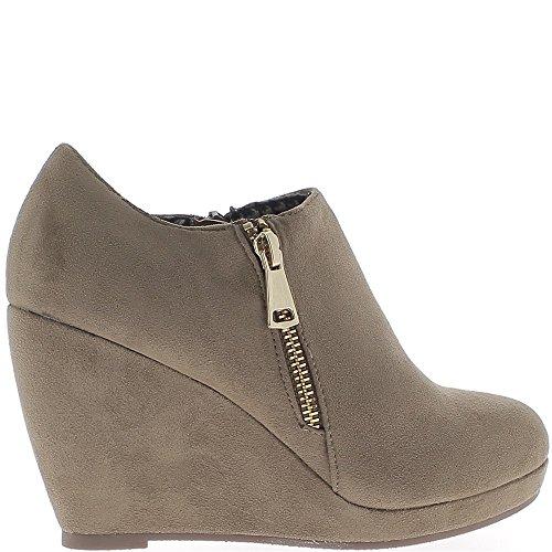 Cuña botas de tacón de ante taupe 9cm aspecto