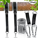 MESUNKA Hammock Straps, 150cm/59in Long Non-Stretch Swing Hanging Straps with Safety Lock Carabiners and Carrying Bag Holds Up to 1760 Lbs for Tire, Disc Swings, Hammocks, Battle Rope Training-2 Sets