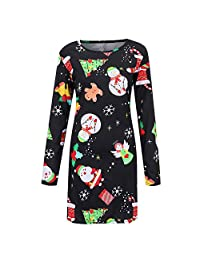 FarJing Christmas Dress, Fashion Women Vintage Cartoon Snowman Print Mini Dress