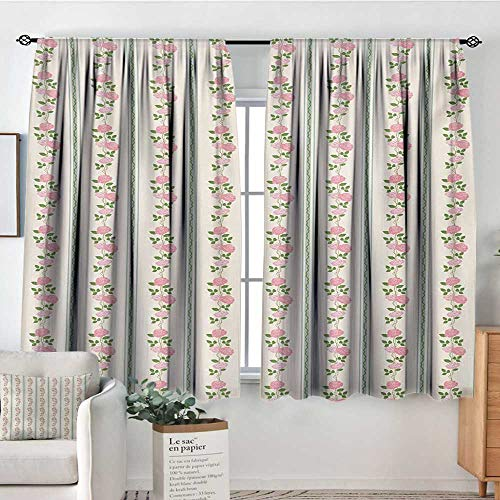 All of better Floral Patterned Drape for Glass Door Country Flower Roses Buds Swirls with White Borders Leaves Art Print Waterproof Window Curtain 63